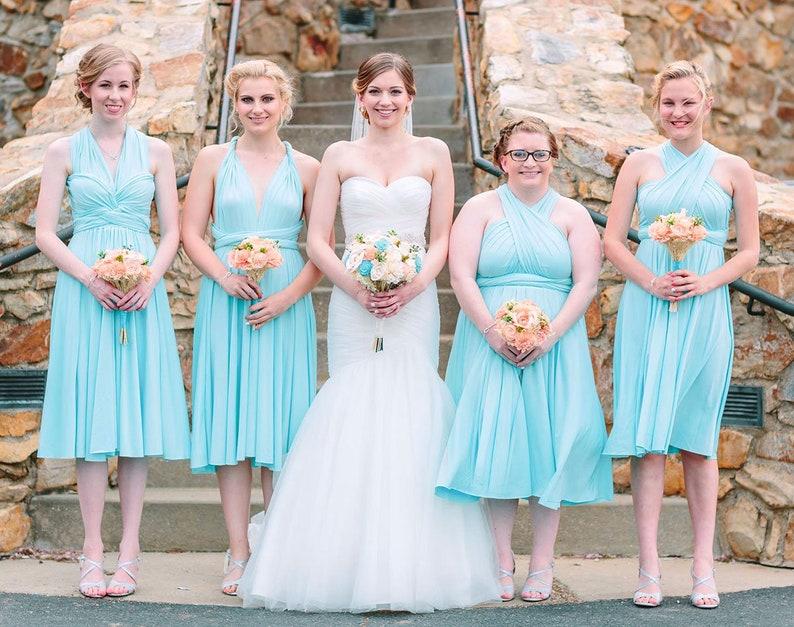 c3fc075e432ac TDY Sky Blue Short Straight Hem Infinity Dress Multiway Bridesmaid Dress  Convertible Wedding Maid of Honour Dress (Regular & Plus Size)