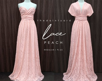 TDY LACE Maxi Bridesmaid infinity dress Convertible dress Multiway Twist Wrap dress in Peach (Regular and Plus size)