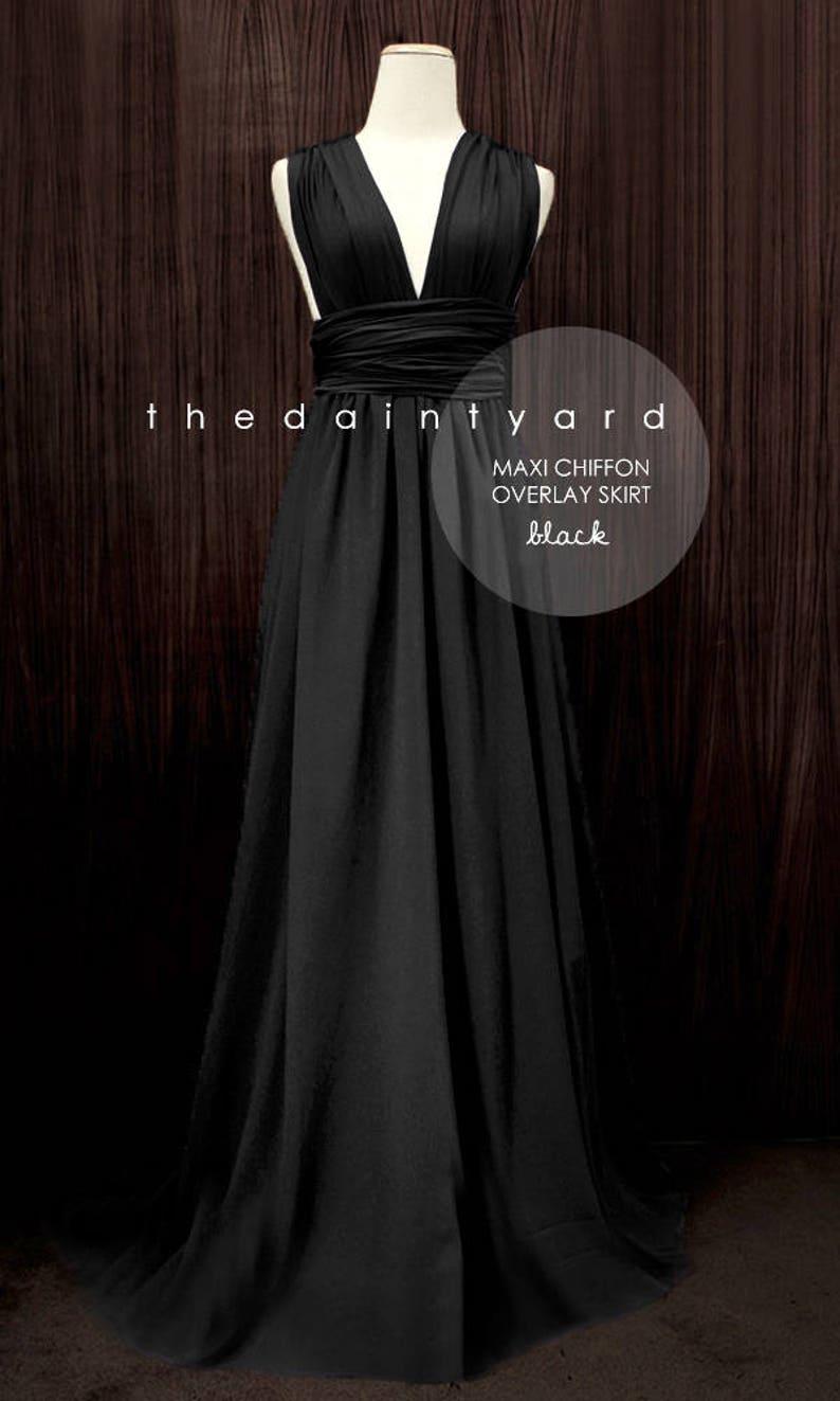 cf13b0a121b61 TDY Black Chiffon Overlay Skirt in Black for Maxi Long | Etsy