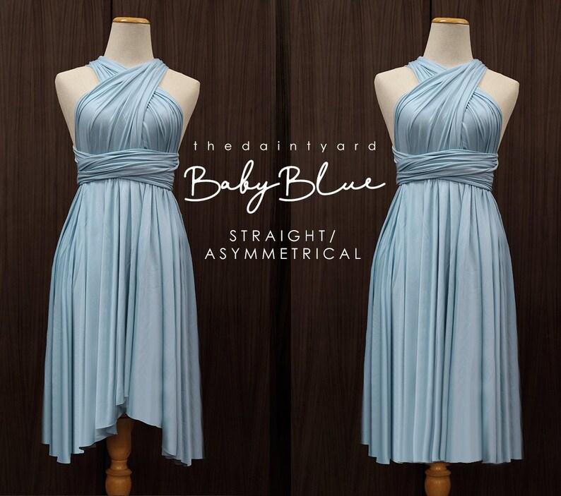 b8840a9b8b TDY Baby Blue Short Asymmetrical Bridesmaid Dress Convertible
