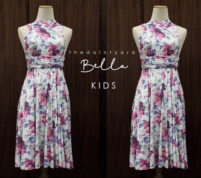 9ced8a0ca7f TDY Bella Floral Kids Size Matching Bridesmaid Convertible