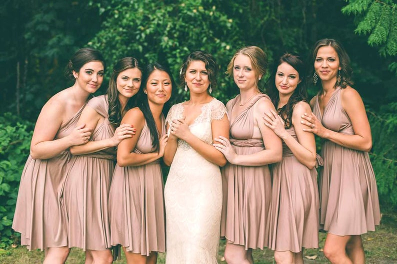 7ef9686943010 TDY Light Taupe Short Straight Hem Infinity Dress Multiway Bridesmaid Dress  Convertible Wedding Sorority Wrap Dress (Regular & Plus Size)