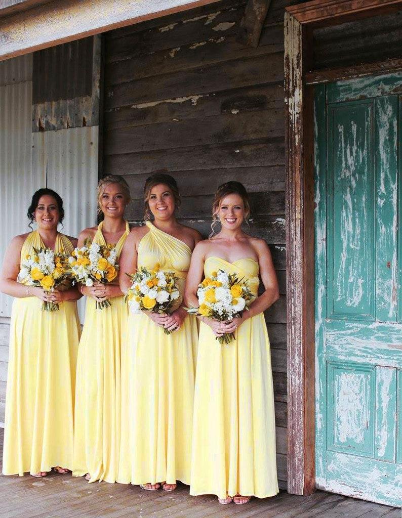 fa17be5db7cbc TDY Yellow Maxi Bridesmaid Dress Convertible Dress Infinity Dress Multiway  Dress Twist Wrap Dress Prom Beach Dress (Regular & Plus Size)