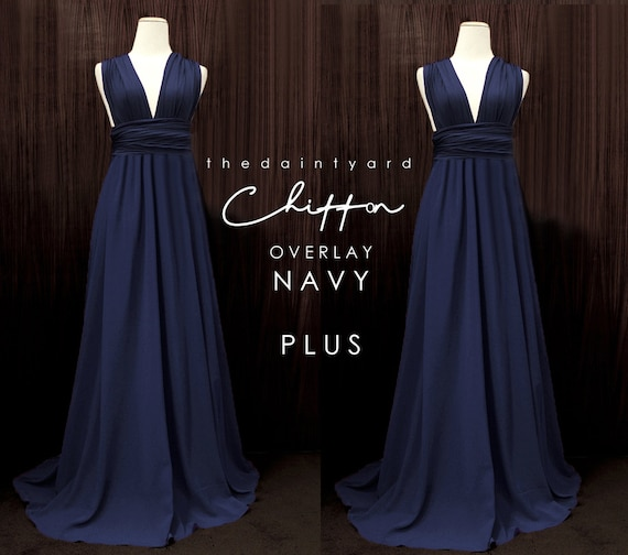 TDY Plus Size Navy Chiffon Overlay Skirt for Maxi Long | Etsy