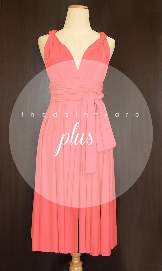 Tdy Plus Size Coral Short Straight Hem Bridesmaid Dress Etsy