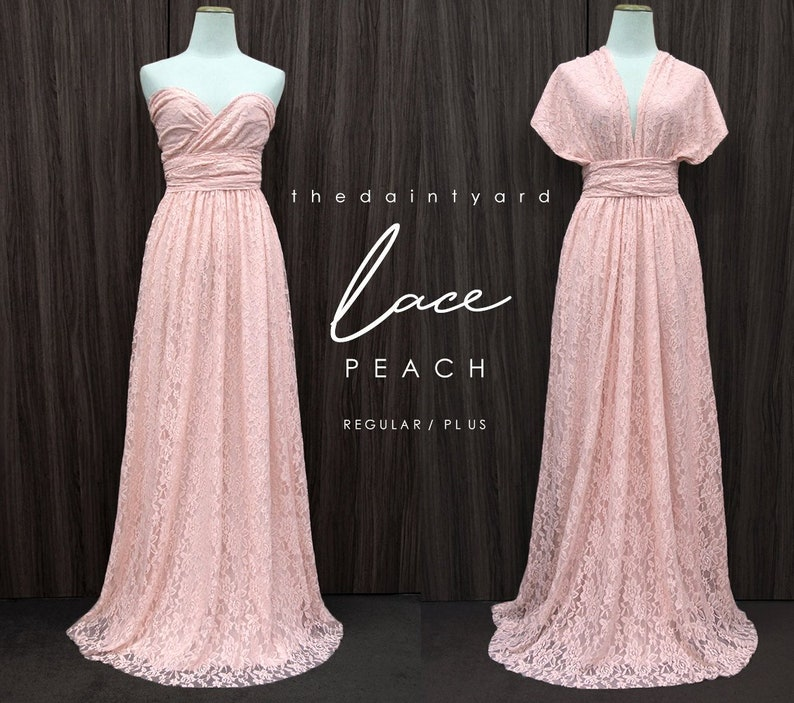 a7385015f0c90 TDY LACE Maxi Bridesmaid infinity dress Convertible dress Multiway Twist  Wrap dress in Peach (Regular and Plus size)
