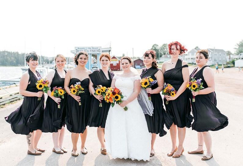 73a6de8581d7e TDY Black Short Straight Hem Infinity Dress Multiway Bridesmaid Dress  Convertible Wedding Sorority Evening Prom Dress (Regular & Plus Size)