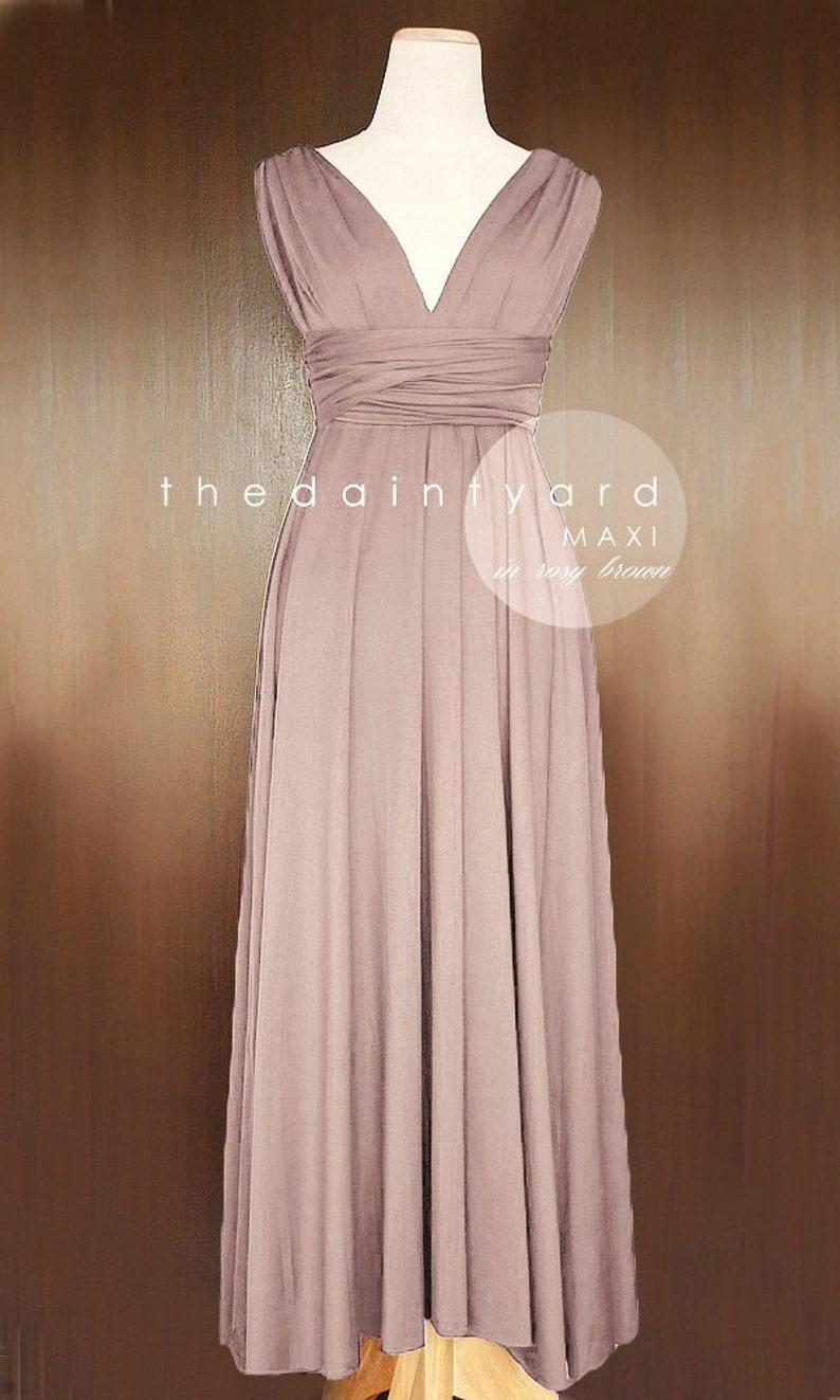 6359a1b0fce TDY Rosy Brown Maxi Bridesmaid Dress Convertible Dress