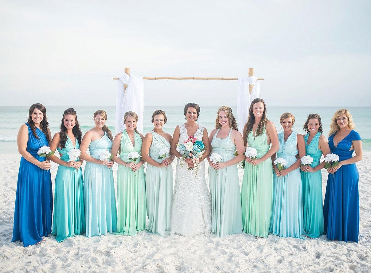 Blue Bridesmaid Dresses For Beach Wedding Dacc