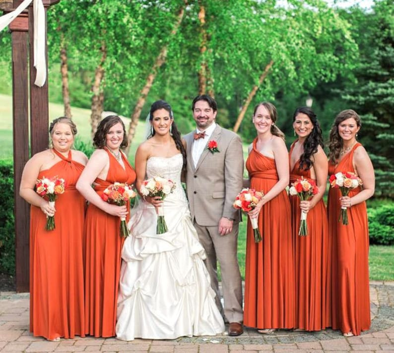 TDY Burnt Orange Maxi Bridesmaid Dress Prom Dress Infinity image 0