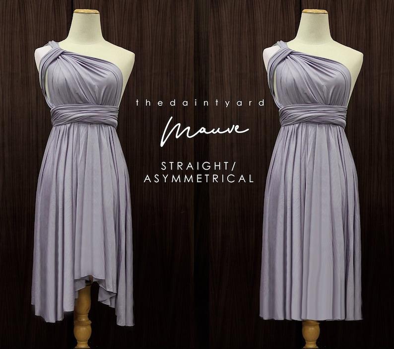 5b38e3d2e83 TDY Mauve Short Asymmetrical Bridesmaid Dress Convertible