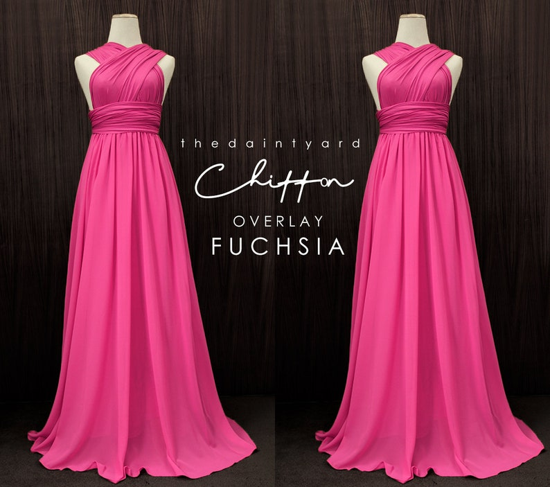 304044161b35 TDY Fuchsia Chiffon Overlay Skirt for Maxi Long Convertible | Etsy