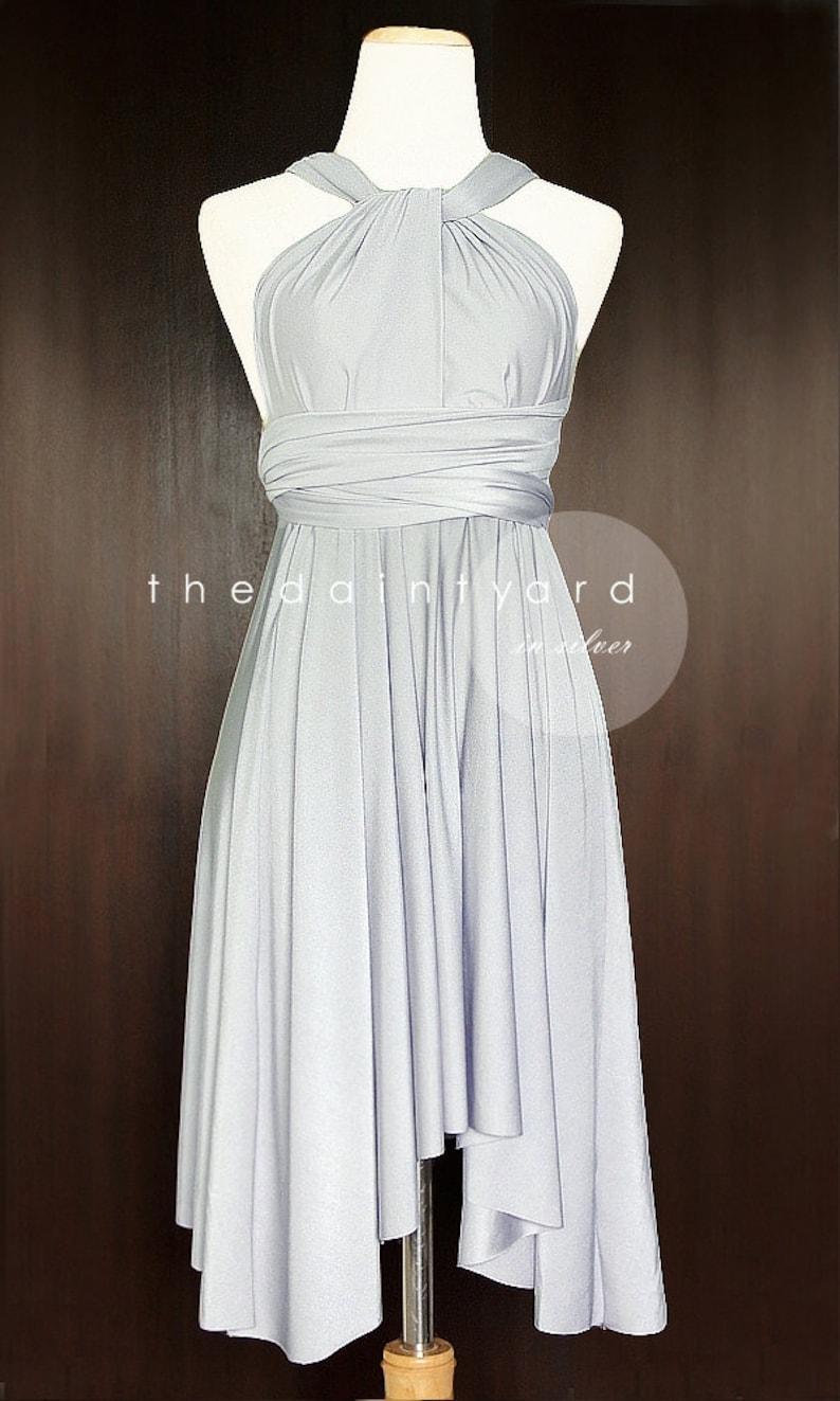 712ab8c32c8 TDY Silver Short Asymmetrical Bridesmaid Dress Convertible