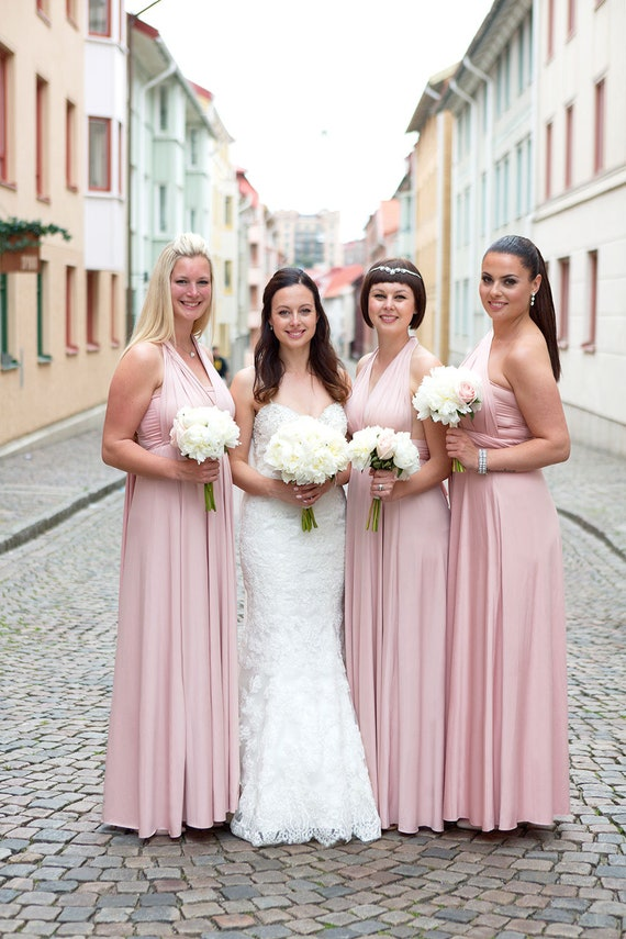 Tdy Nude Pink Maxi Bridesmaid Convertible Dress Infinity Dress Etsy