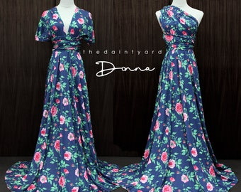 TDY Donna Maxi Floral Infinity Long Ball Gown Dress Convertible Dress Multiway Dress Wrap Dress Summer Floral Bridesmaid Dress