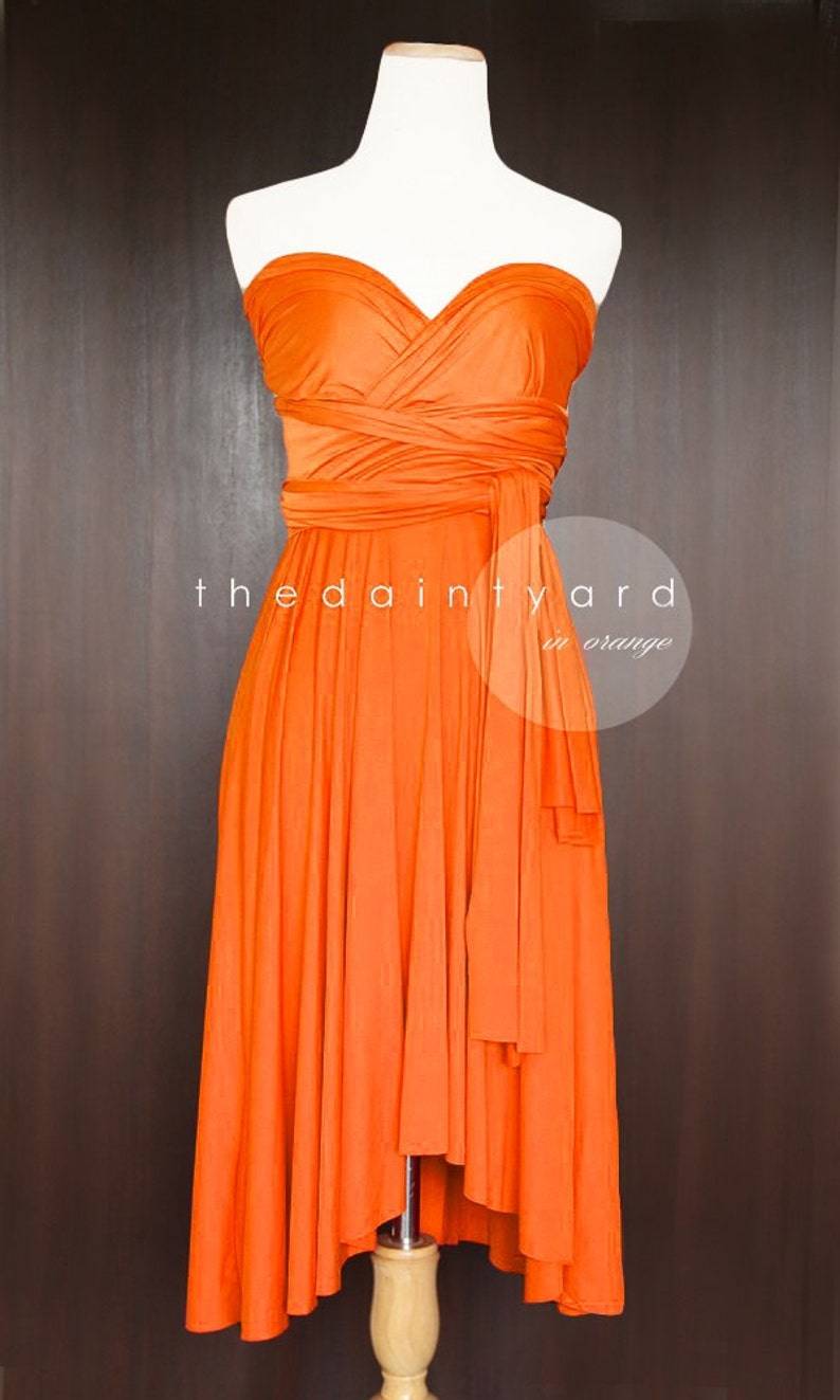 cb524ea0ea7 TDY Orange Short Asymmetrical Bridesmaid Dress Convertible