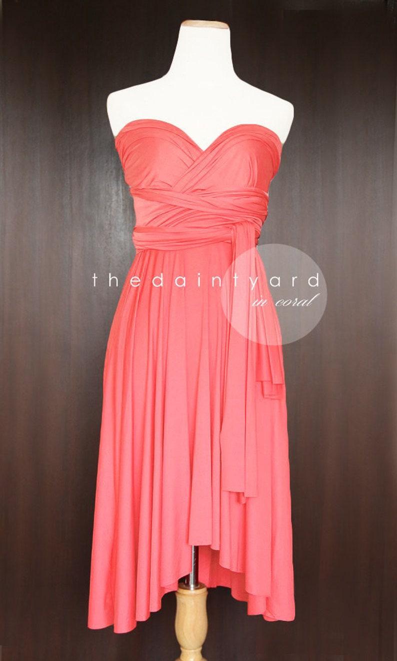 ca625966583 TDY Coral Short Asymmetrical Bridesmaid Dress Convertible