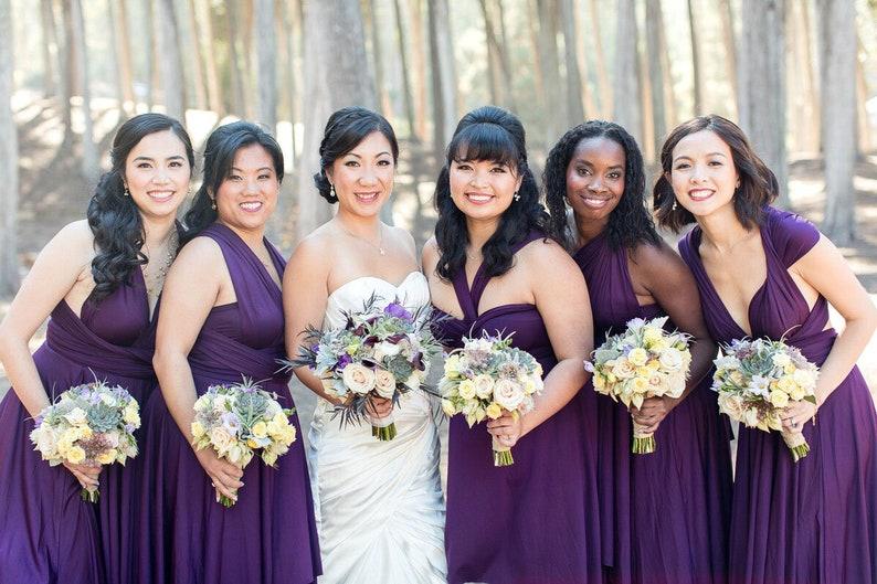 706e79ceff742 TDY Grape Short Straight Hem Infinity Dress Multiway Bridesmaid Dress  Convertible Wedding Sorority Twist Wrap Dress (Regular & Plus Size)