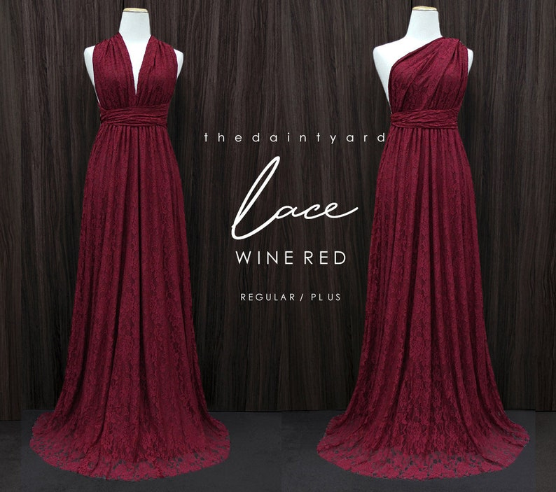 TDY LACE Maxi Bridesmaid infinity dress Convertible dress Multiway Twist  Wrap dress in Wine red (Regular and Plus size)