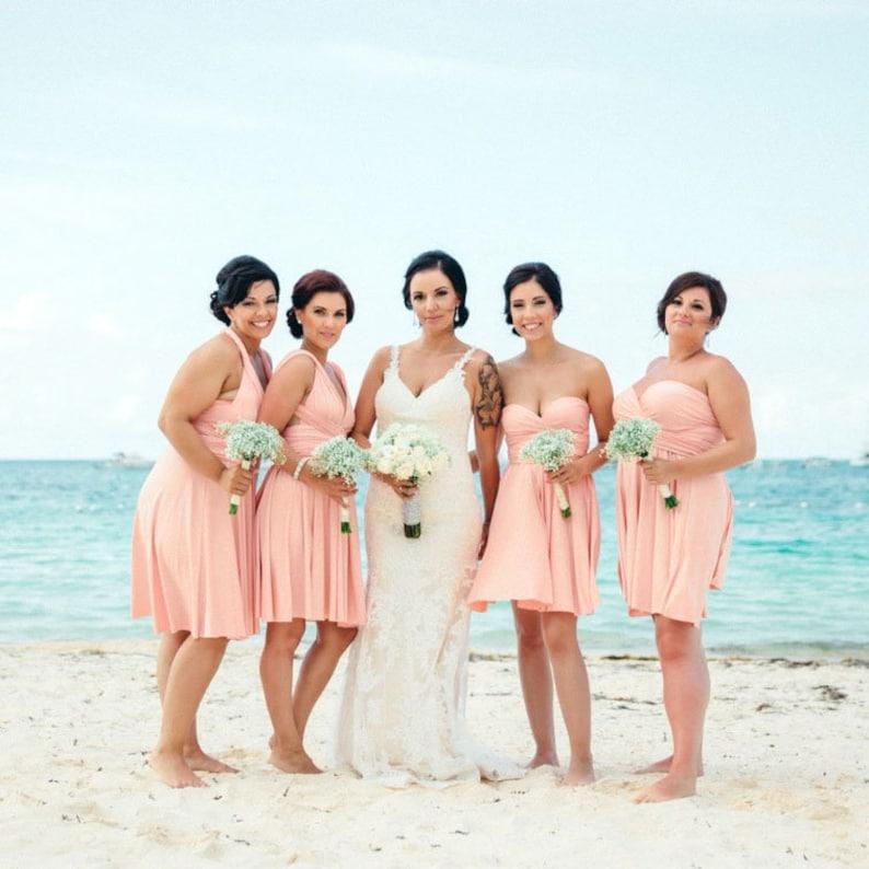 7bf6beab18232 TDY Peach Short Straight Hem Infinity Dress Multiway Bridesmaid Dress  Convertible Wedding Sorority Twist Wrap Dress (Regular & Plus Size)