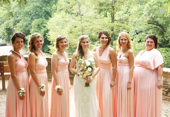 TDY Peach Maxi Bridesmaid Dress Convertible Dress Infinity | Etsy