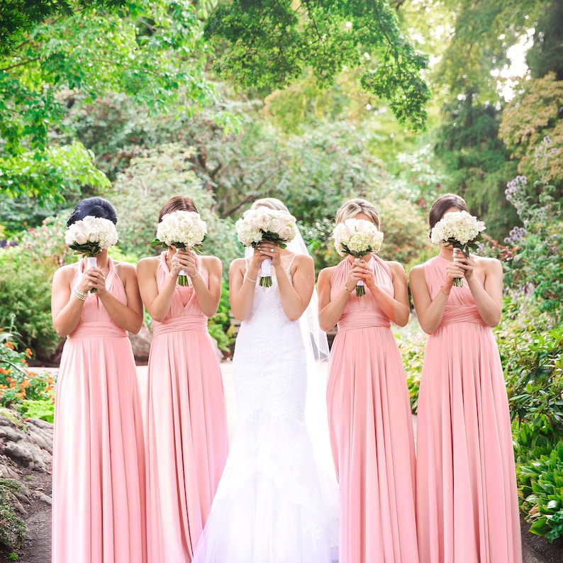 ce5586bf148 TDY Blush Maxi Bridesmaid Convertible Dress Infinity Dress