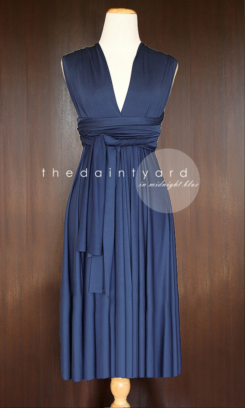 856bf54b9ed3f TDY Midnight Blue Short Straight Hem Infinity Dress Multiway Bridesmaid  Dress Convertible Wedding Sorority Wrap Dress (Regular & Plus Size)