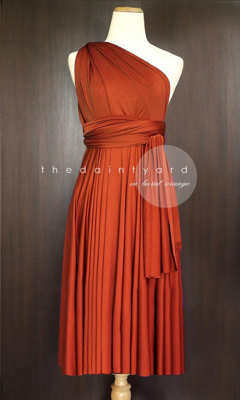3123ce97f82bd TDY Burnt Orange Short Straight Hem Infinity Dress Multiway Bridesmaid  Dress Convertible Wedding Sorority Wrap Dress (Regular & Plus Size)