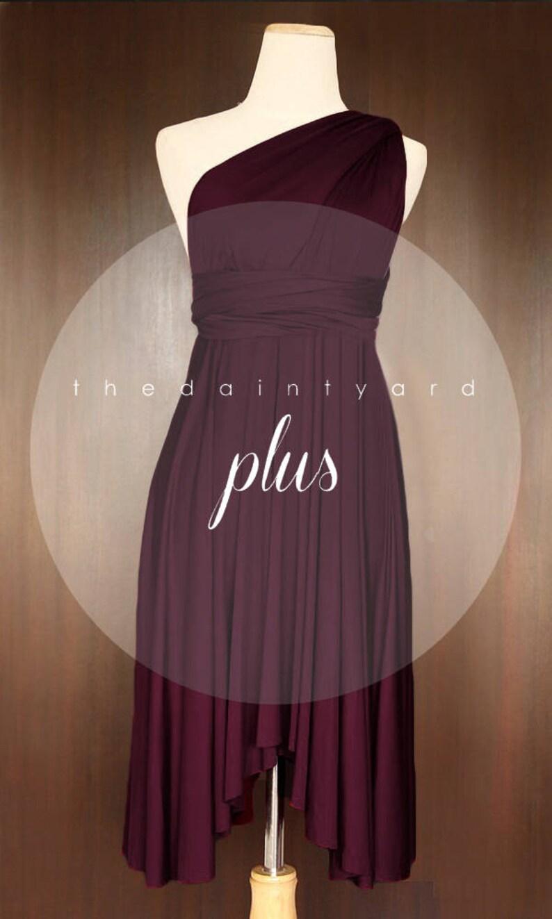 0123c6e62bd TDY Plus Size Burgundy Bridesmaid Dress Convertible Dress