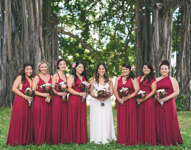 feb98c8ae8f57 TDY Wine Red Maxi Bridesmaid Dress Prom Wedding Dress Infinity Dress  Convertible Multiway Dress Long Cocktail Gown (Regular & Plus Size)