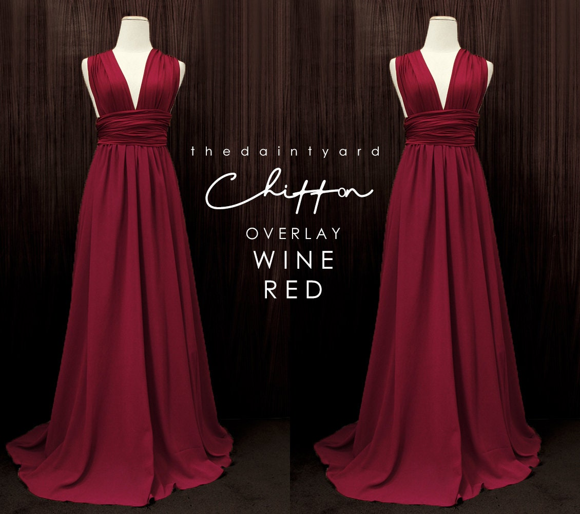 785e21e23223 TDY Wine red Chiffon Overlay Skirt for Maxi Long Convertible | Etsy