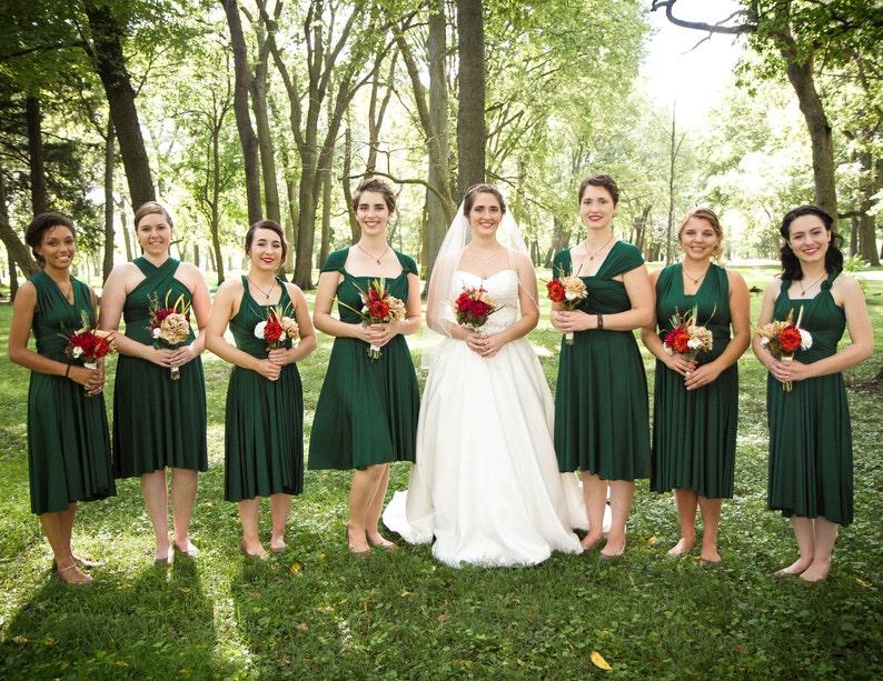 c73709e5dc8fd TDY Forest Green Short Straight Hem Infinity Dress Multiway Bridesmaid  Dress Convertible Wedding Sorority Wrap Dress (Regular & Plus Size)