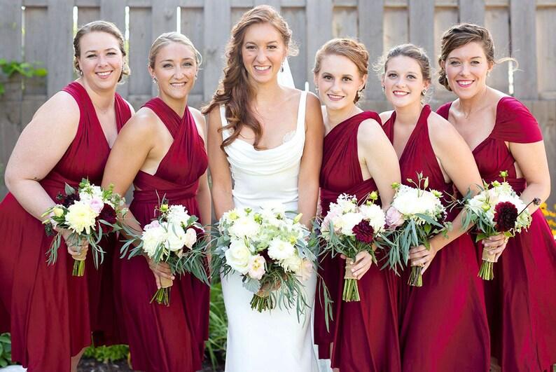 b998e9d910d48 TDY Wine red Short Straight Hem Infinity Dress Multiway Bridesmaid Dress  Convertible Wedding Sorority Twist Wrap Dress (Regular & Plus Size)