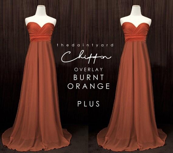Tdy Plus Size Burnt Orange Chiffon Overlay Skirt For Maxi Long Etsy