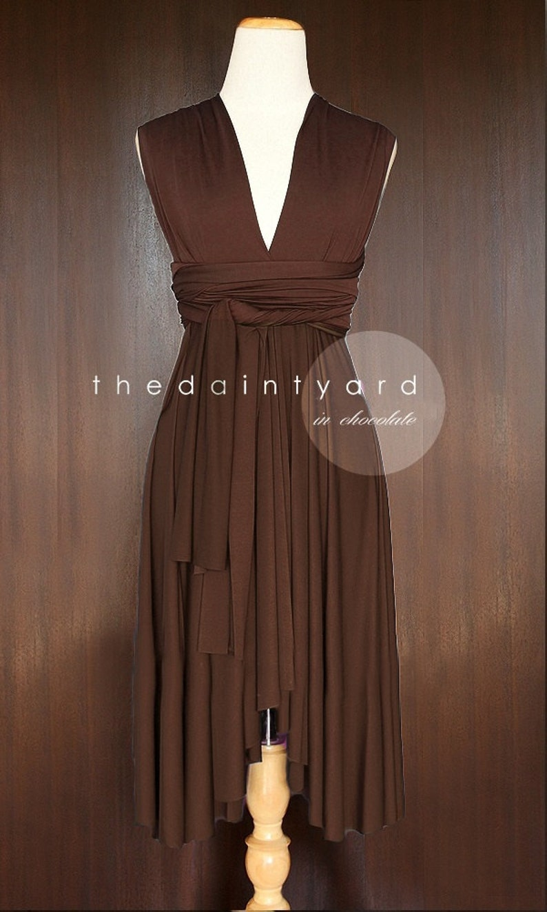 71b7c86e358 TDY Chocolate Short Asymmetrical Bridesmaid Dress Convertible