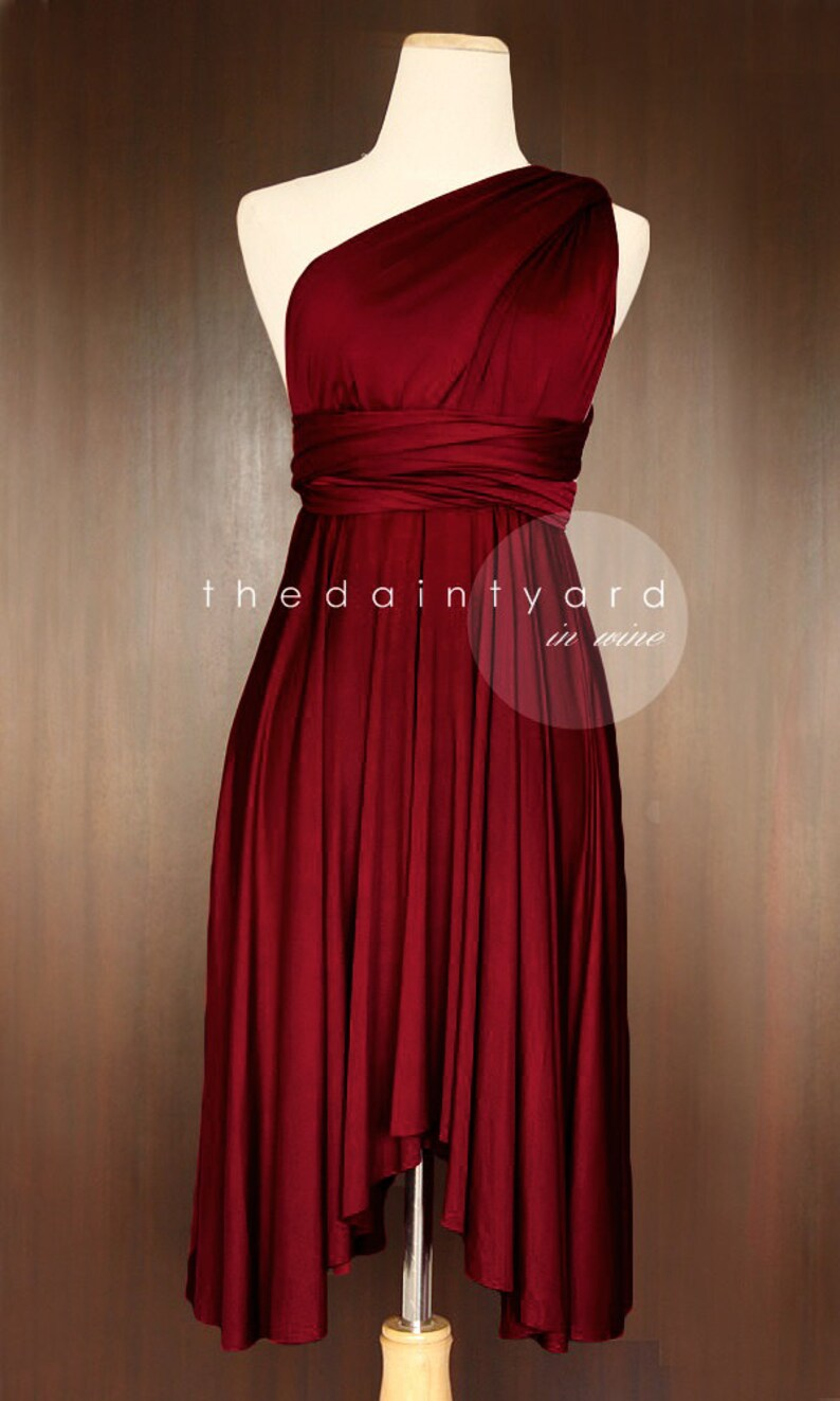 TDY Wine Red Short Asymmetrical Bridesmaid Dress Convertible Dress Infinity Dress Multiway Dress Wedding Evening Prom Cocktail Dress