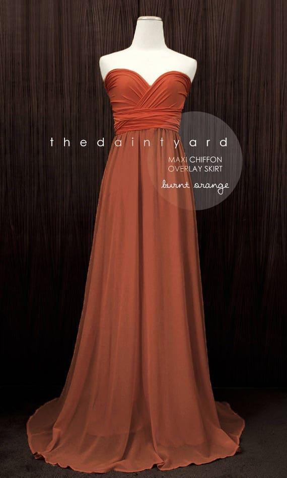 TDY Burnt Orange Maxi Bridesmaid Dress Prom Dress Infinity | Etsy