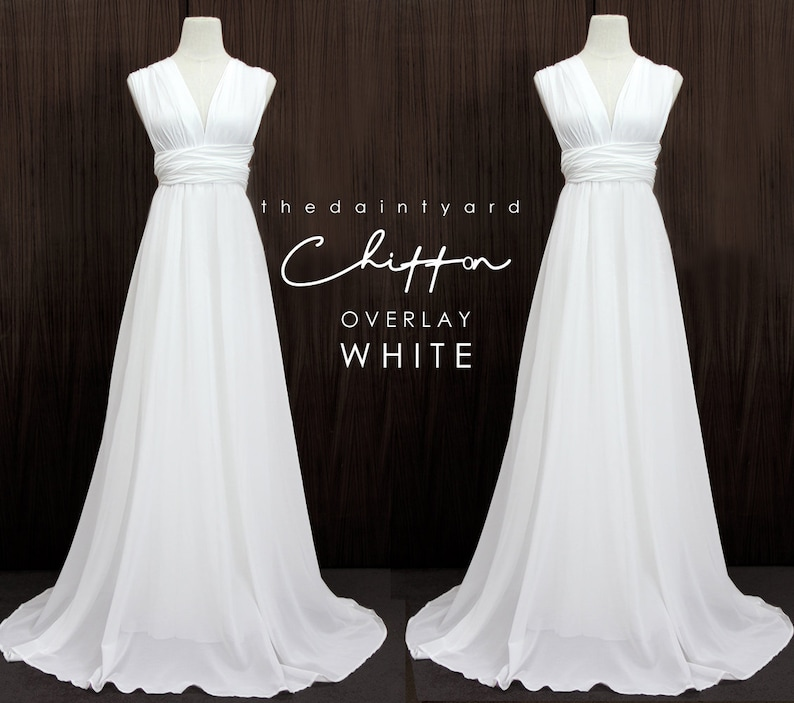 2ee829624b2 TDY White Chiffon Overlay Skirt for Maxi Long Convertible