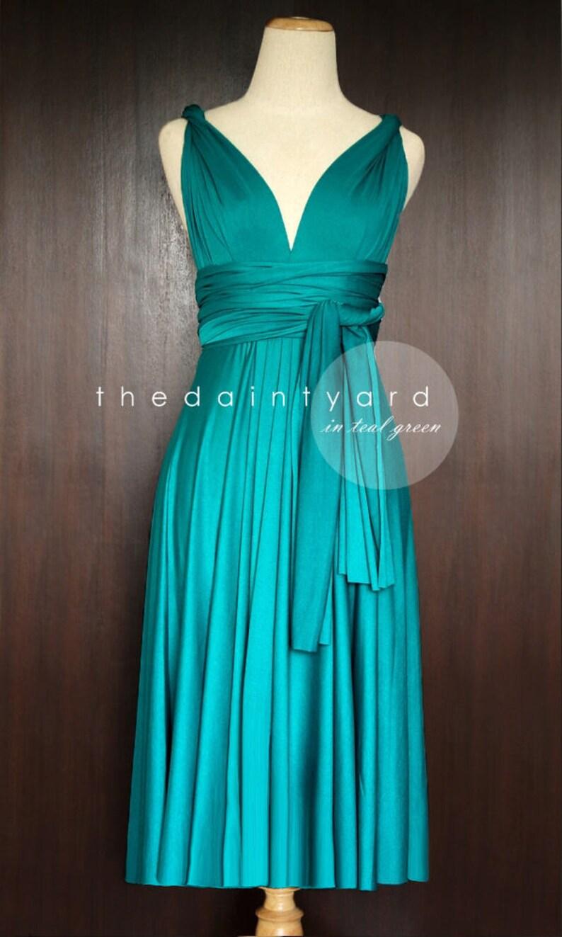 326f5595f9839 TDY Teal Green Short Straight Hem Infinity Dress Multiway Bridesmaid Dress  Convertible Wedding Sorority Wrap Dress (Regular & Plus Size)