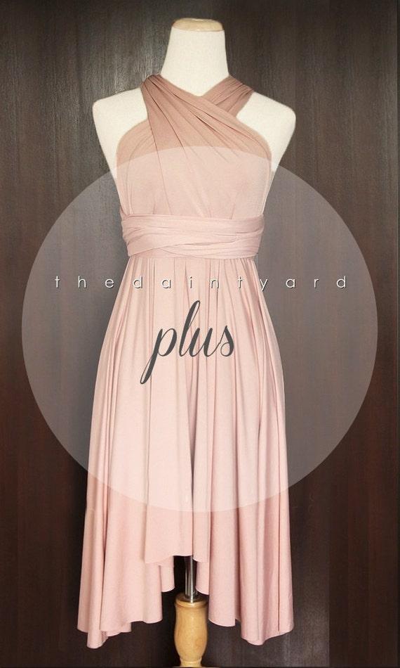 Plus Size Nude Pink Bridesmaid Dress Convertible Dress