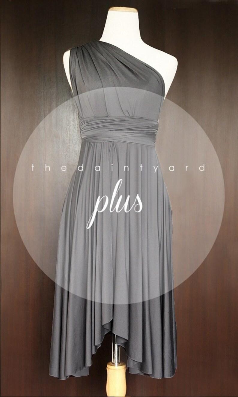 98e19bd00dc TDY Slate Short Asymmetrical Bridesmaid Dress Convertible