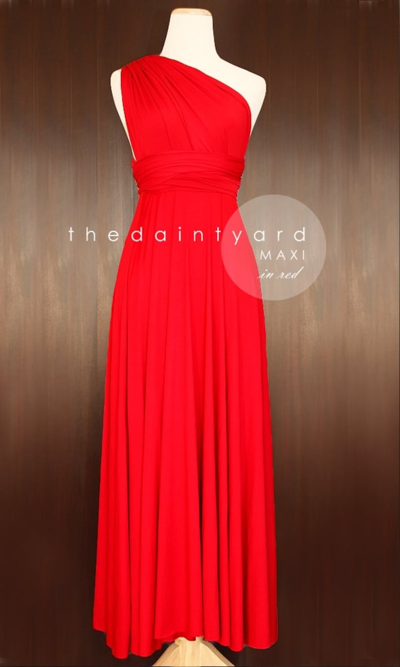 2c2b416db7ef9 TDY Red Maxi Bridesmaid Dress Convertible Dress Infinity Dress Multiway  Dress Twist Wrap Prom Cocktail Long Ball Gown (Regular & Plus Size)