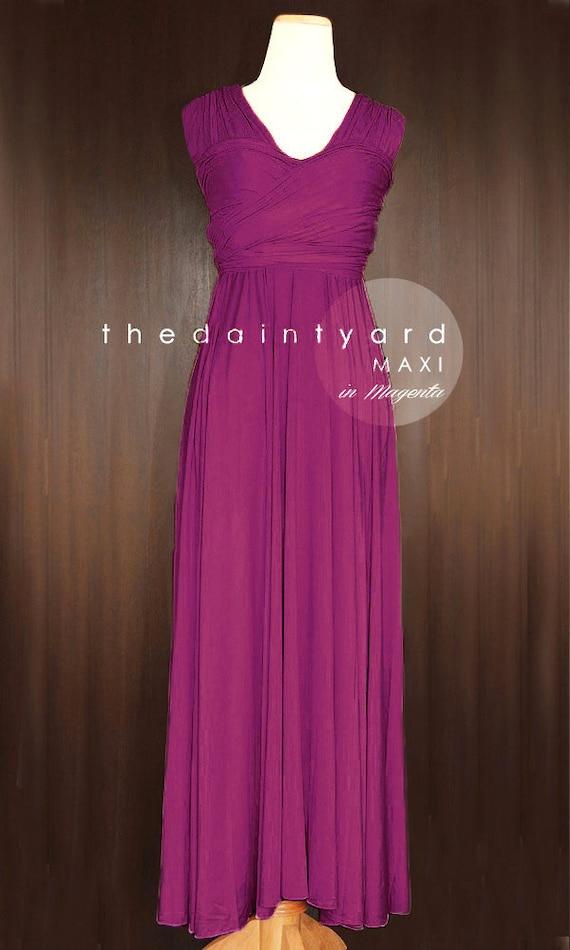 TDY Magenta Maxi Bridesmaid Dress Convertible Dress Infinity