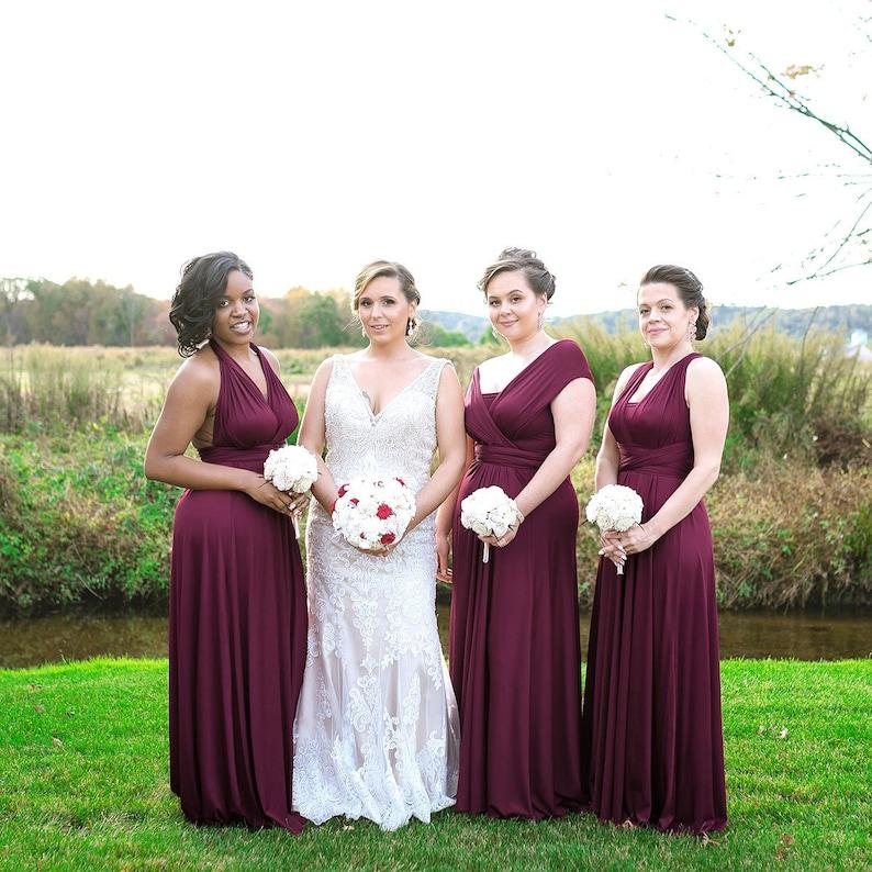 df2335a185e TDY Burgundy Maxi Bridesmaid Dress Wedding Dress Infinity