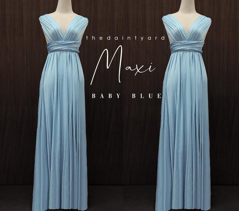 1b5586eeb3 TDY Baby Blue Maxi Bridesmaid Dress Convertible Dress Long