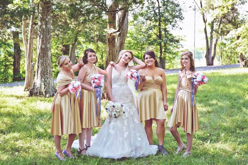 e1bdee03a41 TDY Gold Short Asymmetrical Infinity Dress Convertible Dress