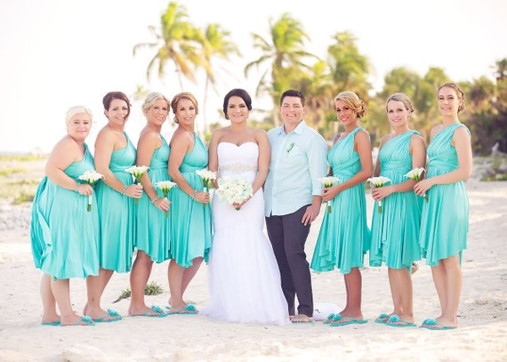 TDY Turquoise Short Asymmetrical Bridesmaid Dress Convertible Dress  Infinity Dress Multiway Wedding Beach Dress (Regular & Plus Size)