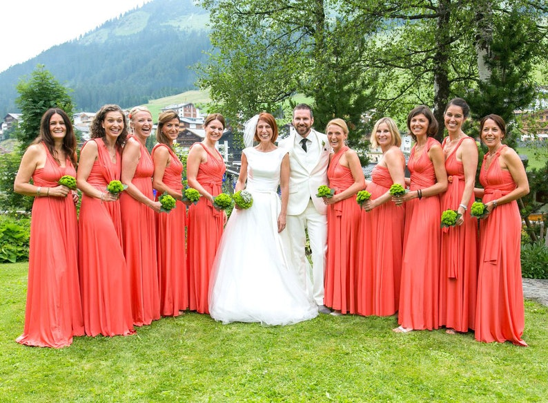 TDY Coral Maxi Bridesmaid Dress Convertible Dress Infinity | Etsy