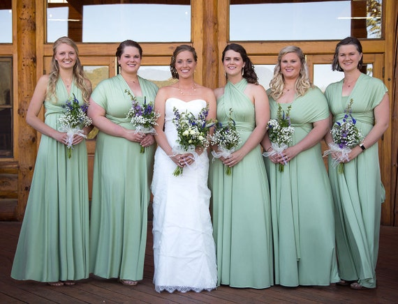 TDY Sage Green Maxi Bridesmaid Dress Convertible