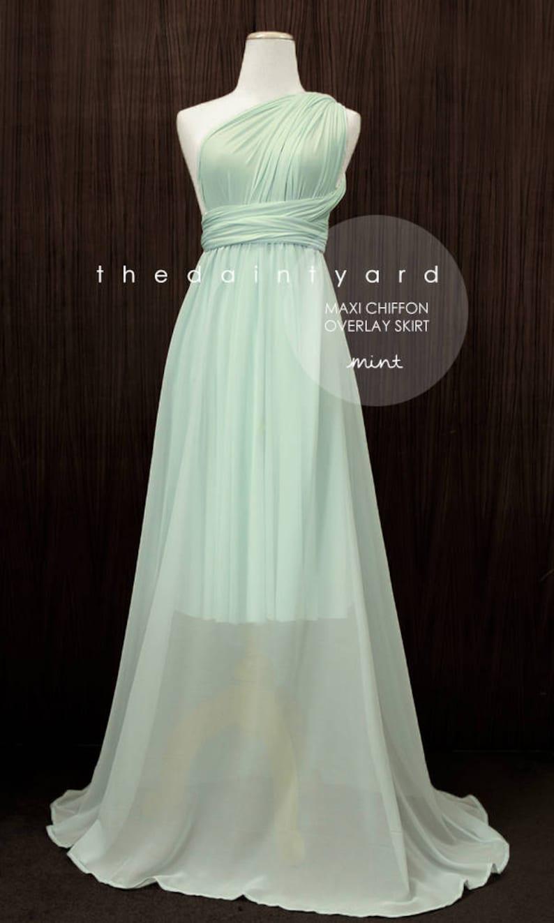 TDY Mint Chiffon Overlay Skirt for Maxi Long Convertible Dress  Infinity Dress  Wrap Dress  Bridesmaid Multiway Dress